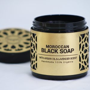 moroccan black soap with argan oil and lavender sent
