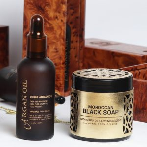 moroccan black soap with argan oil and lavender